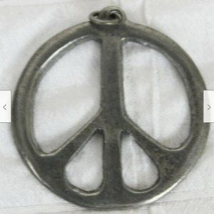 Jewelry - Vtg 1990s Pewter Peace Sign Pendant Necklace Jewel